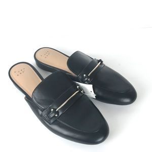 Black Remmy Faux Leather Backless Loafers